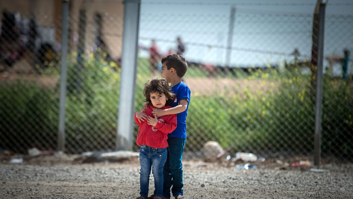 Refugees in makeshift camps in Erbil.
