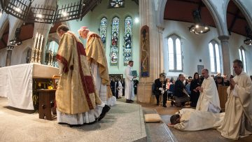 """Bishop Mark O'Toole invites priests to look back on their ordination day """"with a sense of deep joy""""."""